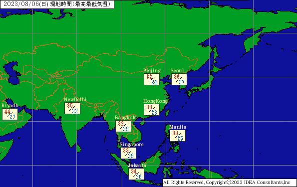 世界の天気 ロシア・アジア | バイオウェザーサービス