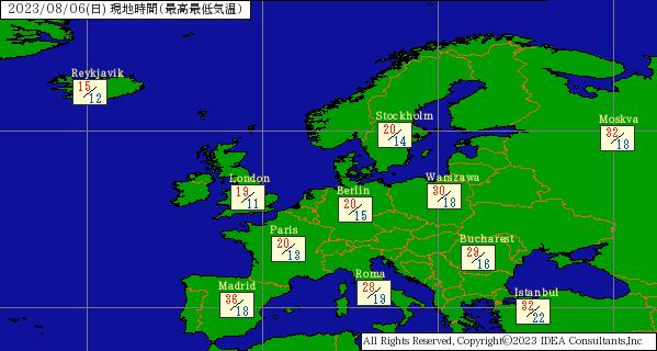 世界の天気 ヨーロッパ | バイオウェザーサービス